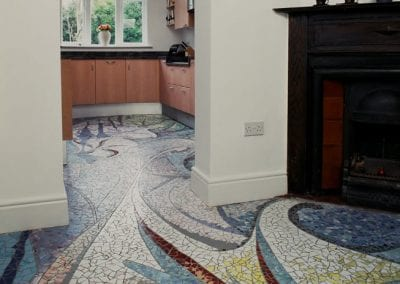 """Blue Paint"" Ceramic floor mosaic"
