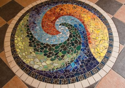"""""""Spiral"""" Ceramic and metal mosaic floor-panel in 'The Oratory' in Dun Laoghaire"""